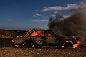 burning car by john hicks